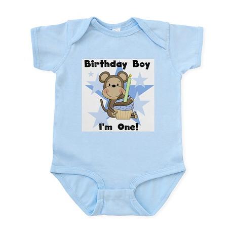 Monkey 1st Birthday Boy Infant Bodysuit