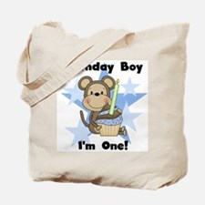 Monkey 1st Birthday Boy Tote Bag