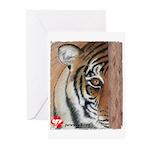 Pastel Drawing PAWS Tiger Greeting Cards (Pk of 10