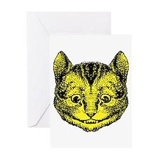 Cheshire Cat Yellow Greeting Card