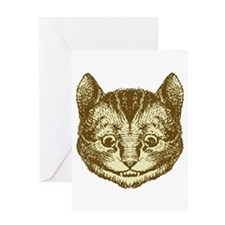 Cheshire cat Sepia Greeting Card