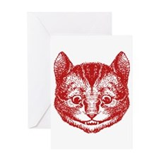 Cheshire Cat Red Greeting Card