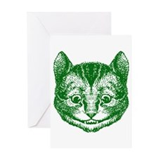 Cheshire Cat Green Greeting Card