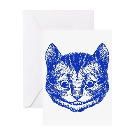 Cheshire Cat Blue Greeting Card