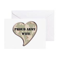 Proud Army wife camo heart Greeting Cards (Package