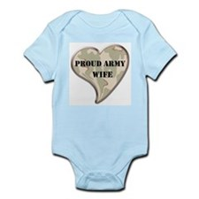 Proud Army wife camo heart Infant Creeper