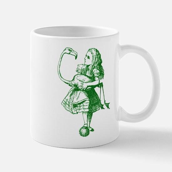 Alice and Flamingo Green Mug