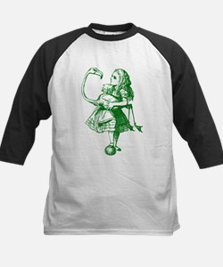 Alice and Flamingo Green Kids Baseball Jersey