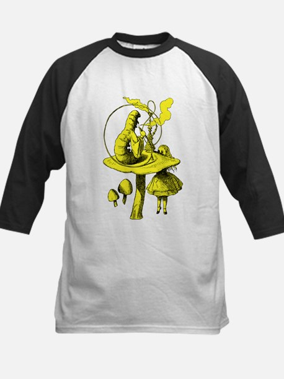 Alice and Caterpillar Yellow Kids Baseball Jersey
