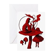 Alice and Caterpillar Red Fil Greeting Card