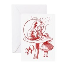 Alice and Caterpillar Red Greeting Cards (Pk of 20