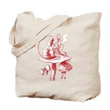 Alice and Caterpillar Red Tote Bag