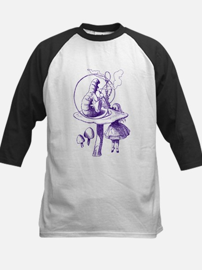 Alice and Caterpillar Purple Kids Baseball Jersey