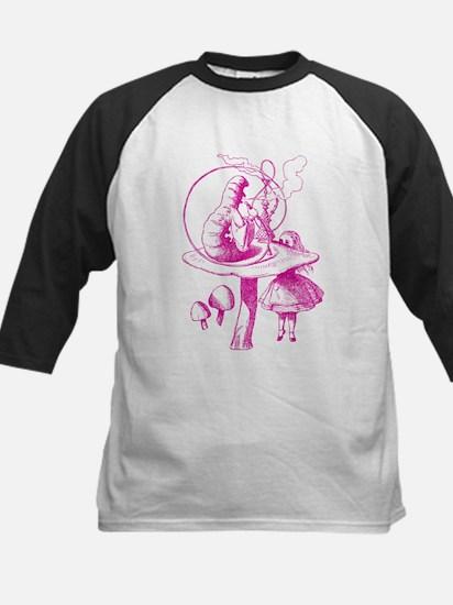 Alice and Caterpillar Pink Kids Baseball Jersey