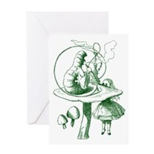 Alice and Caterpillar Green Greeting Card