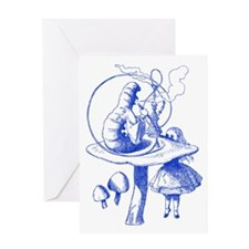 Alice and Caterpillar Blue Greeting Card