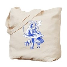 Alice and Caterpillar Blue Tote Bag
