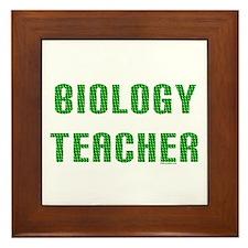 Biology Teacher Green Framed Tile