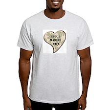 Proud Marine wife camo heart Ash Grey T-Shirt