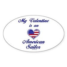 My Navy Valentine Oval Decal