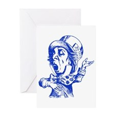 Mad Hatter Blue Greeting Card