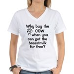 Why Buy Cow Breastmilk Free Women's V-Neck T-Shirt