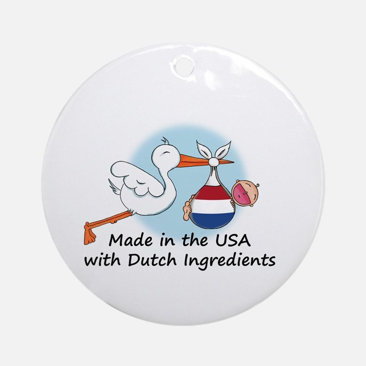 Stork Baby Netherlands USA Ornament (Round)