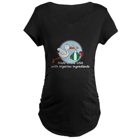 Stork Baby Nigeria USA Maternity Dark T-Shirt