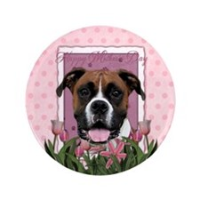 """Pink Tulips - Boxer 3.5"""" Button (100 pack)"""