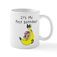 Girl Monkey 1st Birthday Mug