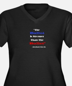 Cute Lincoln patriotic Women's Plus Size V-Neck Dark T-Shirt