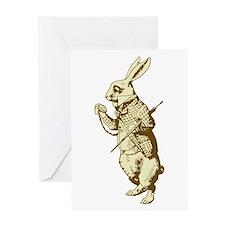 White Rabbit Sepia Greeting Card