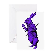 White Rabbit Purple Fill Greeting Card