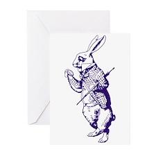 White Rabbit Purple Greeting Cards (Pk of 10)