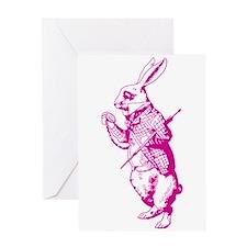 White Rabbit Pink Greeting Card