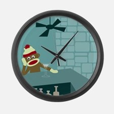 Sock Monkey Martini Large Wall Clock