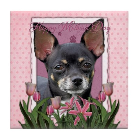 Pink Tulips - Chihuahua Tile Coaster