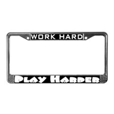 Funny Running in the usa work hard play harder License Plate Frame