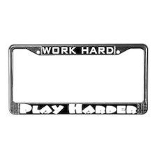 Cute Running usa work hard play harder License Plate Frame