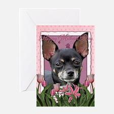 Pink Tulips - Chihuahua Greeting Card
