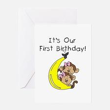 Twin Girls 1st Birthday Greeting Card