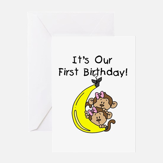 Twins First Birthday Greeting Cards – 1st Birthday Greetings