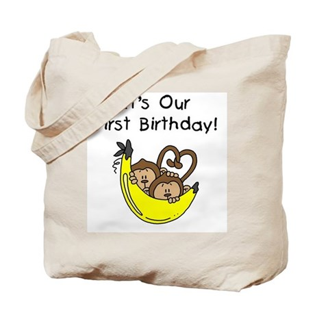 Twin Boys 1st Birthday Tote Bag