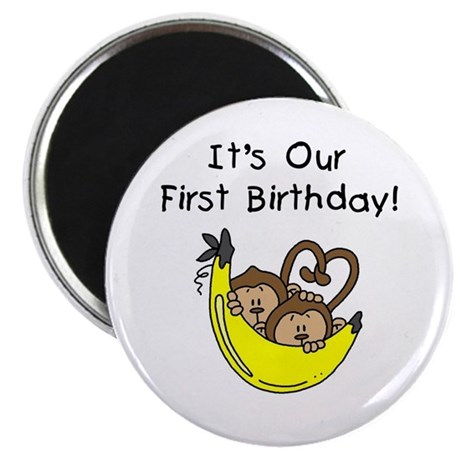 Twin Boys 1st Birthday Magnet