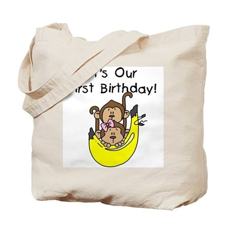 Twin Boy and Girl 1st Birthday Tote Bag