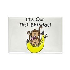 Twin Boy and Girl 1st Birthday Rectangle Magnet