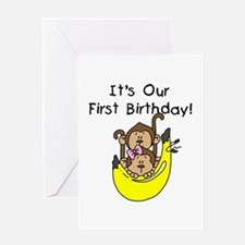 Twin Boy and Girl 1st Birthday Greeting Card