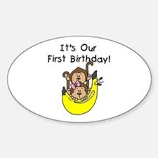 Twin Boy and Girl 1st Birthday Decal
