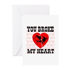 You Broke My Heart Pig Greeting Cards (Package of