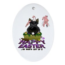 Scottie Happy Easter Ornament (Oval)